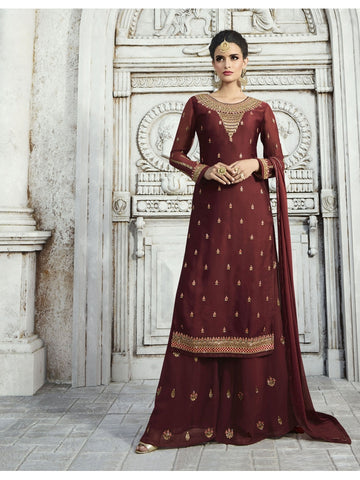 Designer and Beautiful Blood Red Color Straight Cut Suit