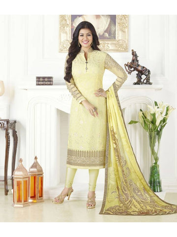 Designer Partywear Embroidered Yellow Straight Cut Suits