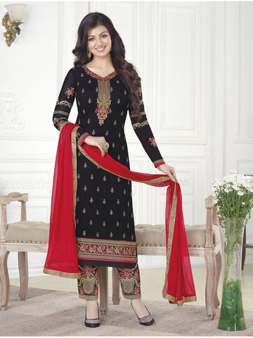Premium Designer Wear Black,Embroidered Straight cut suit