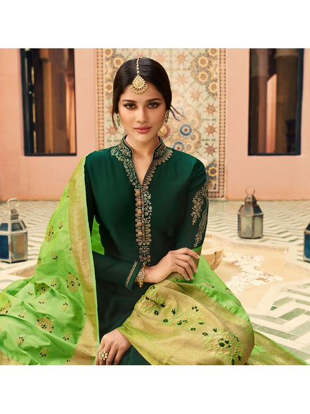 Designer and Beautiful Party Wear Dark Green Color Straight Cut Suit