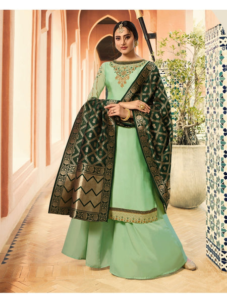 Designer and Beautiful Party Wear Light Turquoise Color Straight Cut Suit