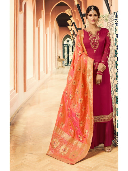 Designer and Beautiful Party Wear Maroon Color Straight Cut Suit