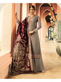 Designer and Beautiful Party Wear Grey Color Straight Cut Suit