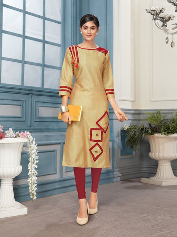 Designer Beige Color Digital Printed Kurti
