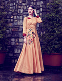 Light Orange Art Silk Digital Printed Gown