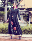 Black Art Silk Digital Printed Gown