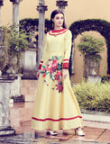 Light Yellow Art Silk Digital Printed Gown