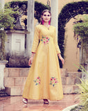 Yellow Art Silk Digital Printed Gown
