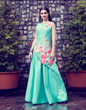 Mint Green Art Silk Digital Printed Gown