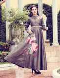 Brown Art Silk Digital Printed Gown