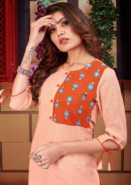 Beautiful Light Orange Linen Straight Cut Kurti with Palazzo