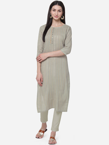 Grey Viscose Cotton With Jari Lining Straight Cut Kurti