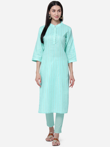 Sea Green Viscose Cotton With Jari Lining Straight Cut Kurti