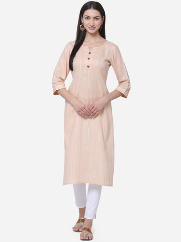 Light Peach Viscose Cotton With Jari Lining Straight Cut Kurti