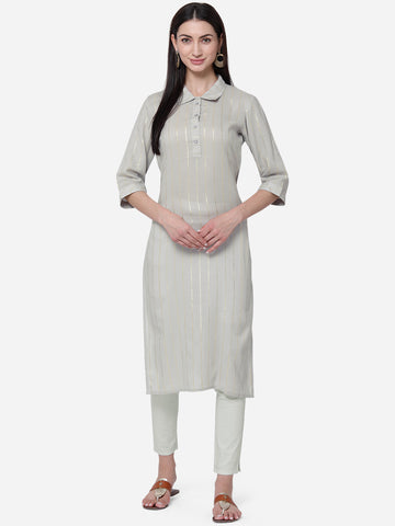 Light Grey Viscose Cotton With Jari Lining Straight Cut Kurti