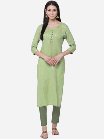Green Viscose Cotton With Jari Lining Straight Cut Kurti