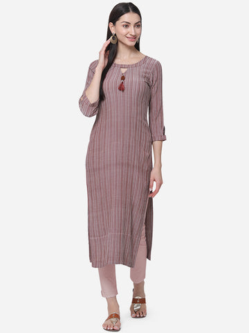 Multi Color Viscose Cotton With Jari Lining Straight Cut Kurti