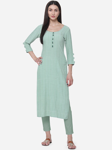 Sky Blue Viscose Cotton With Jari Lining Straight Cut Kurti