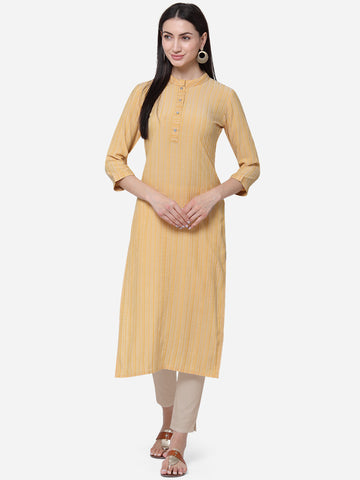 Mustard Viscose Cotton With Jari Lining Straight Cut Kurti