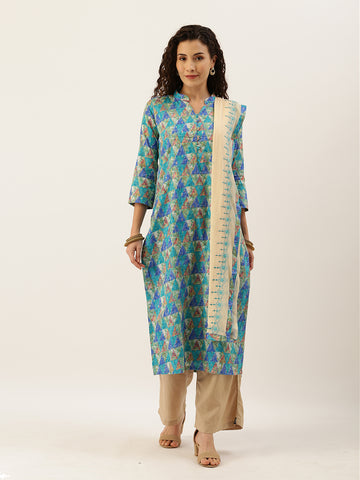 Blue and Beige Cotton Printed Straight Cut Suit