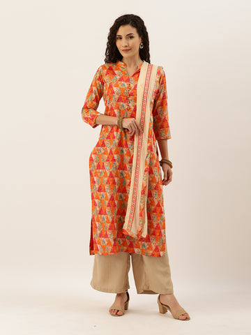 Orange and Beige Cotton Printed Straight Cut Suit