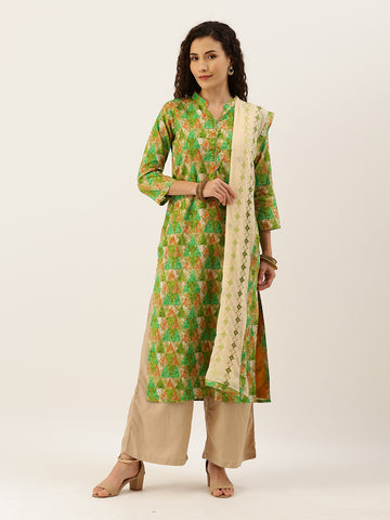 Kelly Green and Beige Cotton Printed Straight Cut Suit