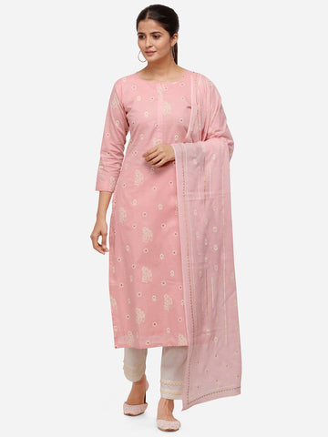 Pink Color Cotton Khadi Printed Straight Cut Suit