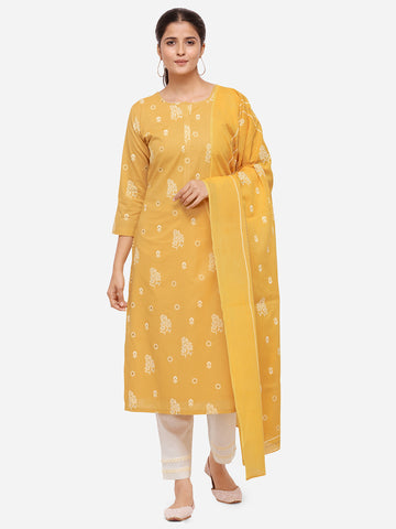 Yellow Color Cotton Khadi Printed Straight Cut Suit