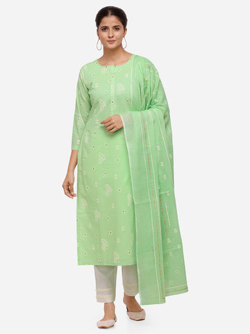 Lime Green Color Cotton Khadi Printed Straight Cut Suit