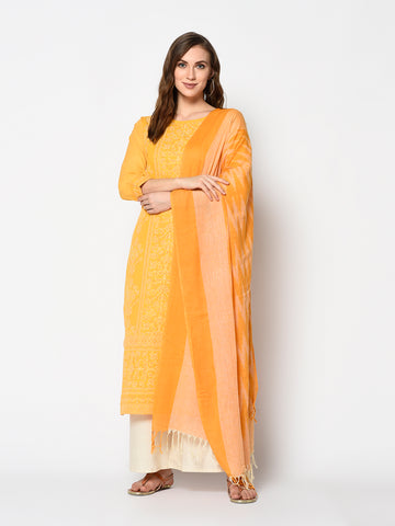 Yellow and Off White Cotton Khadi Print Straight Cut Suit