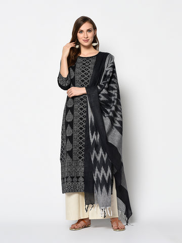 Black and Off White Cotton Khadi Print Straight Cut Suit