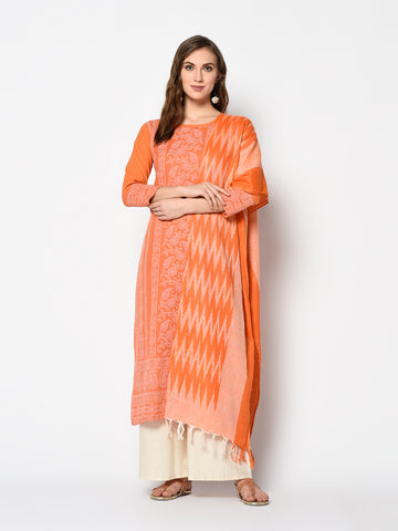 Orange and Off White Cotton Khadi Print Straight Cut Suit