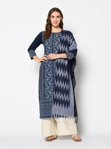 Navy Blue and Off White Cotton Khadi Print Straight Cut Suit