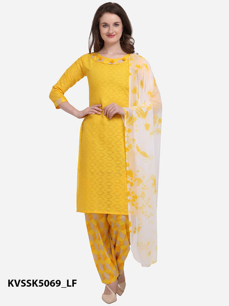 Yellow Color Cotton Printed Patiala Suit