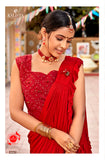 Maroon Frill Worked Designer Saree with Heavy Blouse