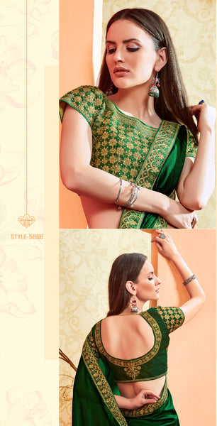 Designer and Beautiful Forest Green Color Silk Saree