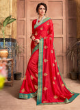 Designer and Beautiful Red Color Silk Saree