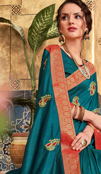 Designer and Beautiful Green Color Silk Saree