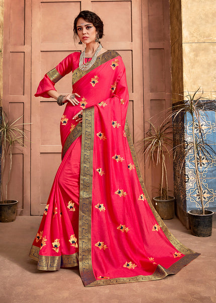 Designer and Beautiful Hot Pink Color Silk Saree