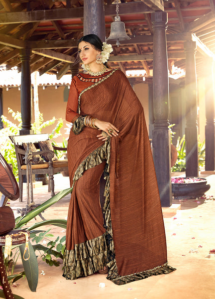 Designer and Beautiful Chocolate Color Silk Saree