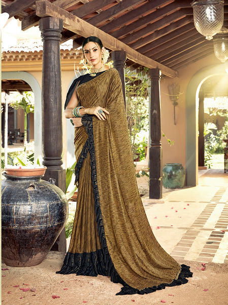 Designer and Beautiful Dark Goldenrod Color Silk Saree