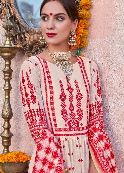 Cream and Red Poly Linen Printed  Anarkali Suit