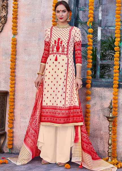 Cream and Red Poly Linen Printed Straight Cut Suit