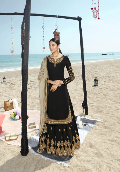 Beautiful and Designer Black Colour Straight Cut Suit