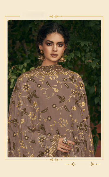 Beautiful and Designer Coffee Colour Straight Cut Suit