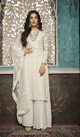Beautiful and Designer White Colour Straight Cut Suit
