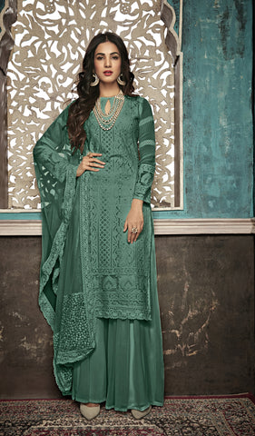 Beautiful and Designer Mahendi Green Colour Straight Cut Suit