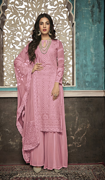 Beautiful and Designer Pink Colour Straight Cut Suit