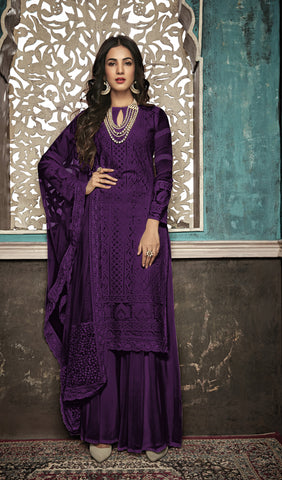 Beautiful and Designer Purple Colour Straight Cut Suit