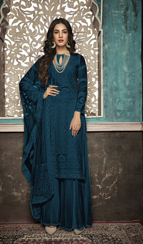 Beautiful and Designer Navy Blue Colour Straight Cut Suit